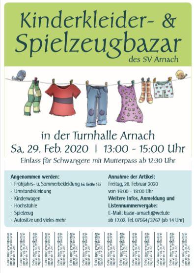 Kinderkleider- und Spielzeugbazar in der Turnhalle Arnach